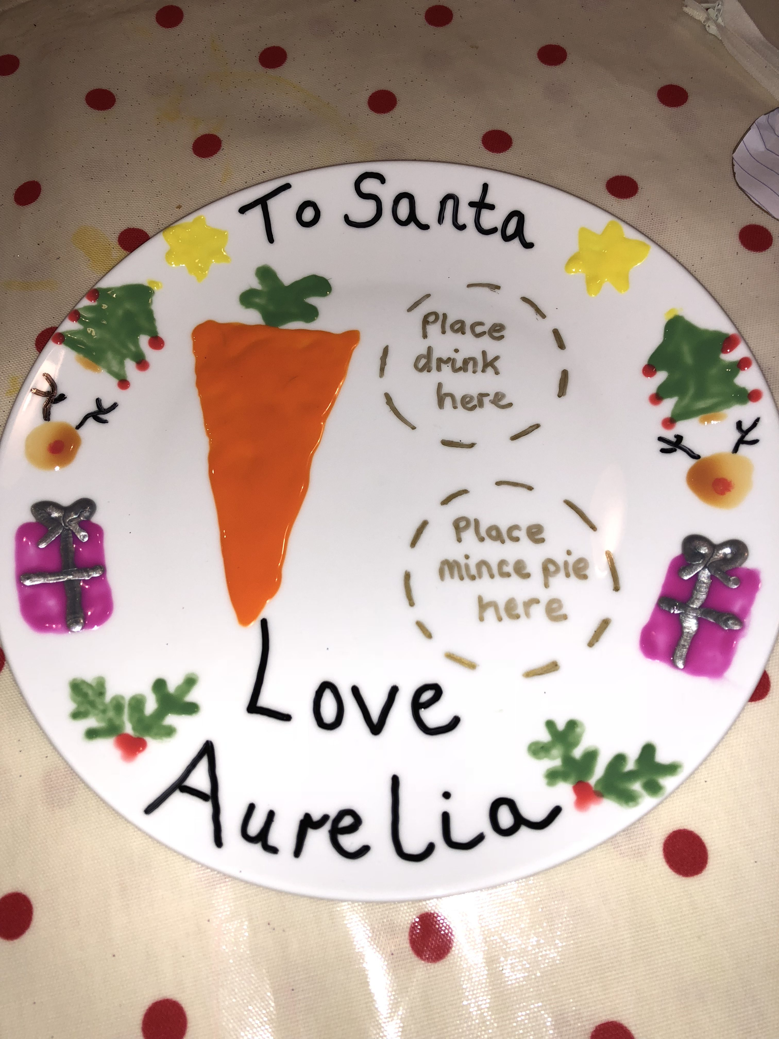 Santa and Rudolph plate
