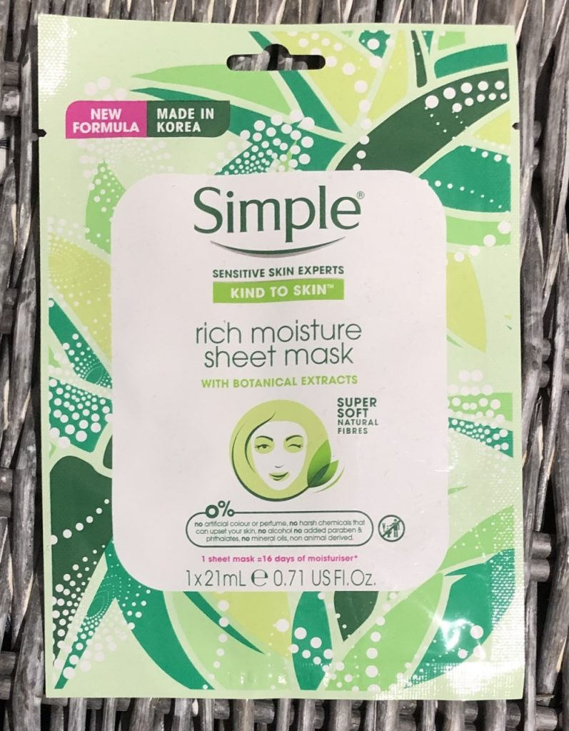 Simple Rich Moisture Sheet Mask Review