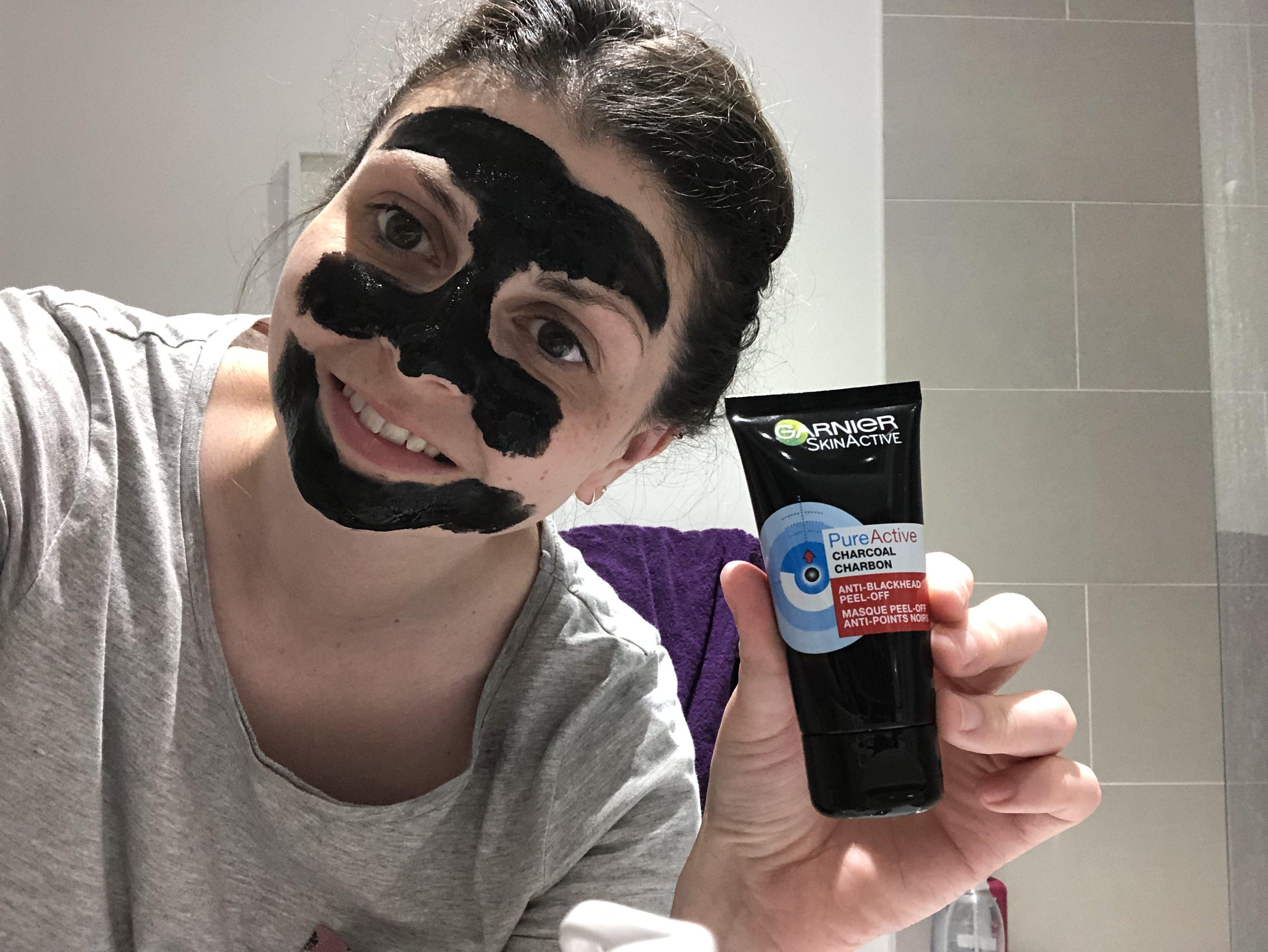 Garnier SkinActive Pure Active Charcoal Anti Blackhead Peel-Off Mask Review graphic