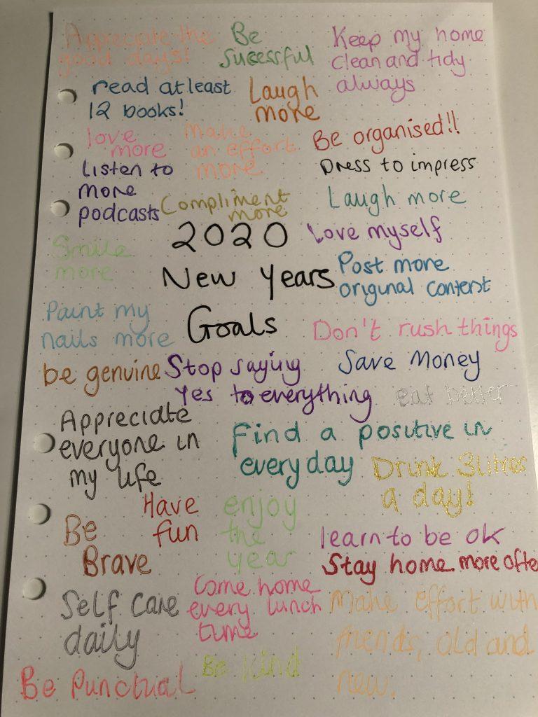 2020 New Years Goals graphic