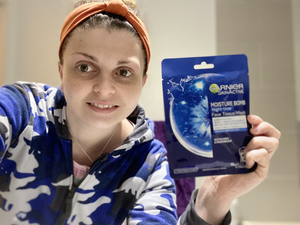 Garnier Moisture Bomb Night-Time Face Sheet Mask Review graphic