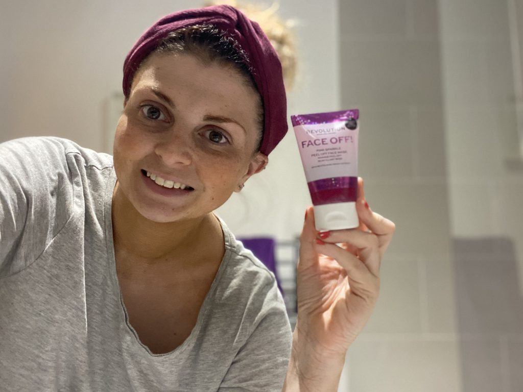Revolution Skincare Face Off! Pink Sparkle Peel Off Face Mask Review graphic